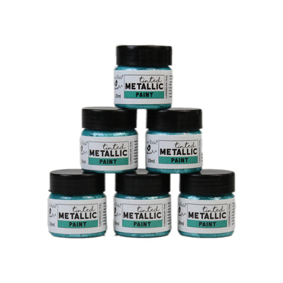 Share Pack Tinted Metallic Paint - Carribean Teal, 20ml, 6pc