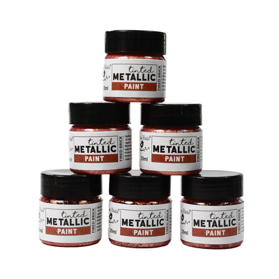 Share Pack Tinted Metallic Paint - Fired Brick, 20ml, 6pc
