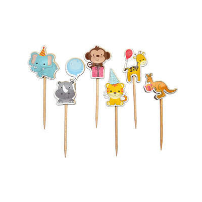 Cupcake Toppers - Animal Party, 24Pcs