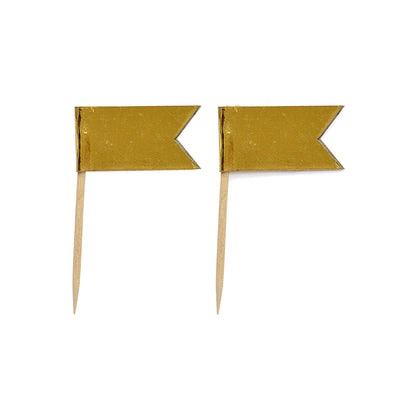 Cupcake Toppers - Flag Gold 12Pc