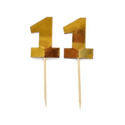 Cupcake Toppers - Number 1 Gold 12Pc