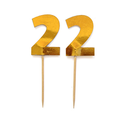 Cupcake Toppers - Number 2 Gold 12Pc