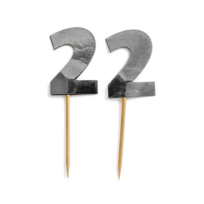 Cupcake Toppers - Number 2 Silver 12Pc