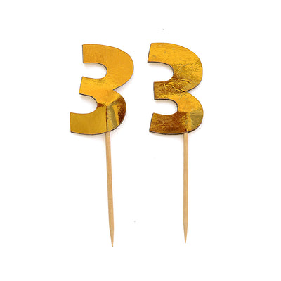 Cupcake Toppers - Number 3 Gold 12Pc