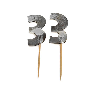 Cupcake Toppers - Number 3 Silver 12Pc
