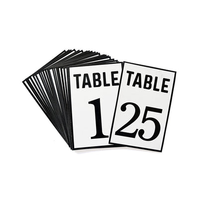 Table Numbers 4`` X 6`` Black- 1 To 25