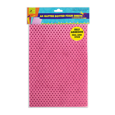 Self Adhesive Glitter Foam Dotted Assorted -6Sheets