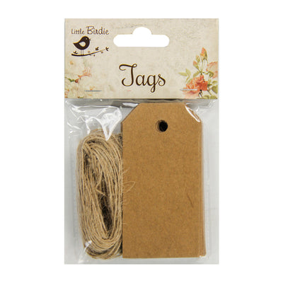 Kraft Tags And Jute Twine -14 mtr ,50Pcs