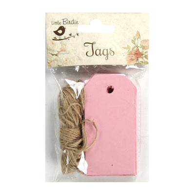 Pink Tags And Jute Twine-14 mtr ,50Pcs
