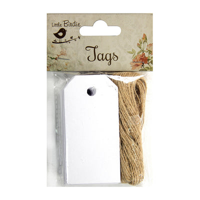White Tags And Jute Twine-14 mtr ,50Pcs