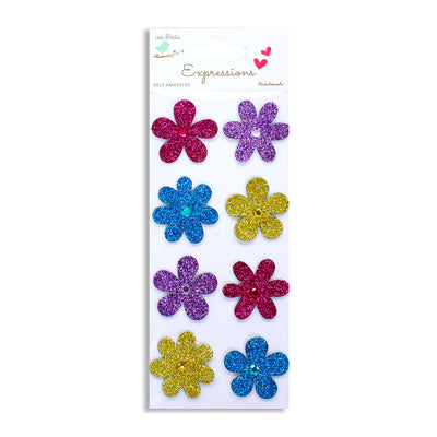 Mini Glitter Embellishments - Floral Party 8pcs