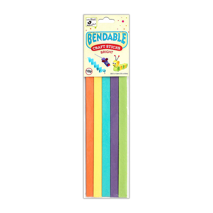 Bendable Craft Sticks Bright -1.5x30.5cm, 10pcs