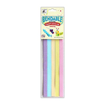 Glitter Bendable Craft Sticks Pastel -1.5x30.5cm, 10pcs