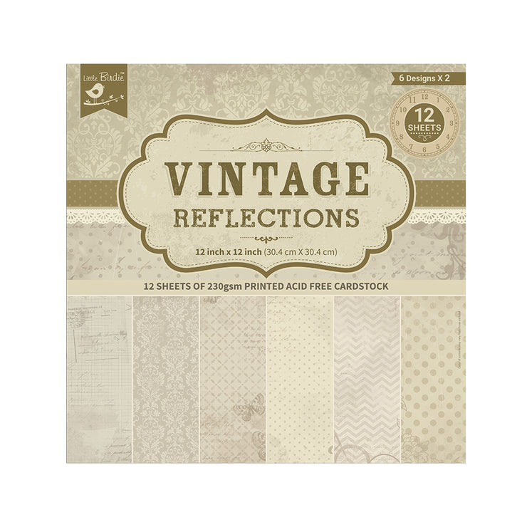"Printed Cardstock Pack -12"" x 12"", 12 Sheets - Vintage Reflections"
