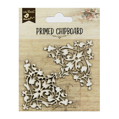 Primed Chipboard-Floral Corners