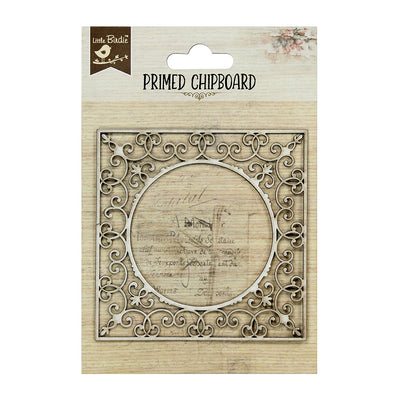 Primed Chipboard- Ornate Round Frame, 1Pc