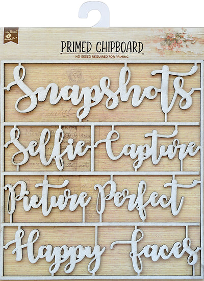 Primed Chipboard Sentiments -Happy Faces