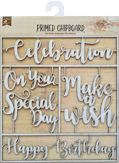 Primed Chipboard Sentiments -Celebration