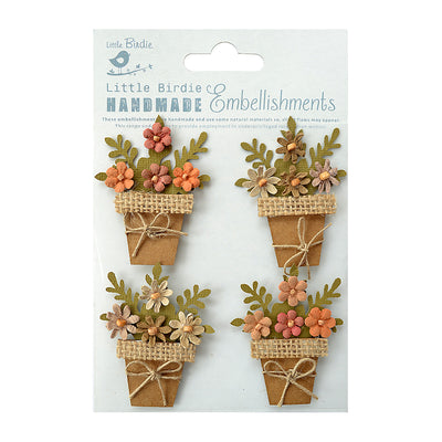 Sticker Self-adhesive - Flower Pots,4pcs