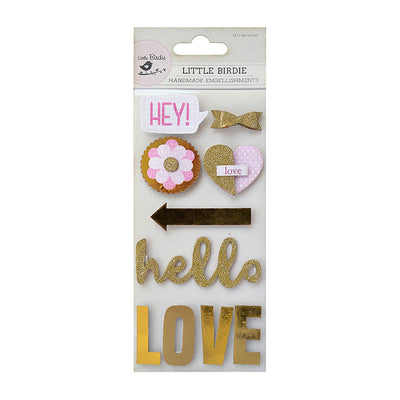 Self-adhesive Glitter & Foil Embellishments - Hello, 7Pc