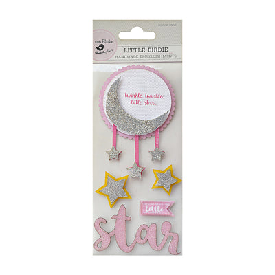Sticker Self- adhesive  - Little Star, Pink 5pcs