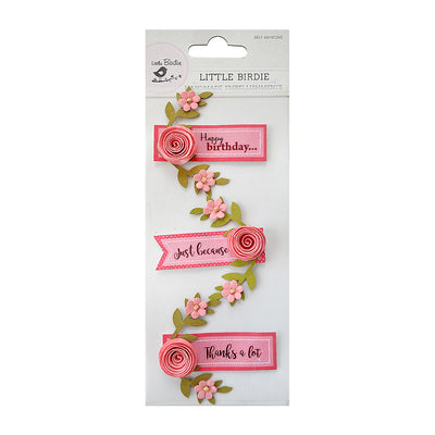 Sticker Self- adhesive  - Say It with Rose, Coral,3pcs