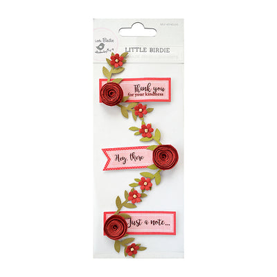 Sticker Self- adhesive  - Say It with Rose, Cherry,3pcs