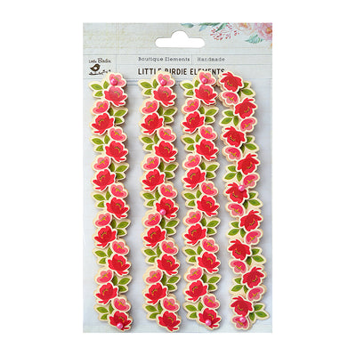 Sticker self- adhesive  - Blossomy Borders, Gaiety,4pcs