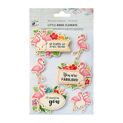 Sticker self- adhesive  - Flamingo Fling,6pcs