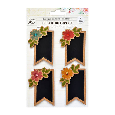Sticker Self- adhesive  -  Floral Kraft Chalk Banner,4pcs