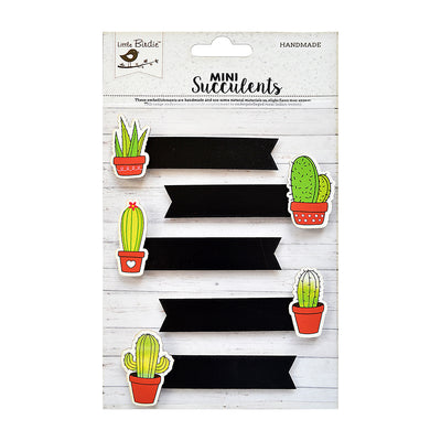 Self-adhesive Embellishments -Cacti Banners, 5Pc