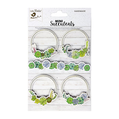 Self-adhesive Embellishments - Succulent Wreath, 5Pc