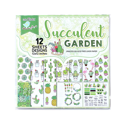Succulents Garden Paper Pack 12X12 inch, 12sheets