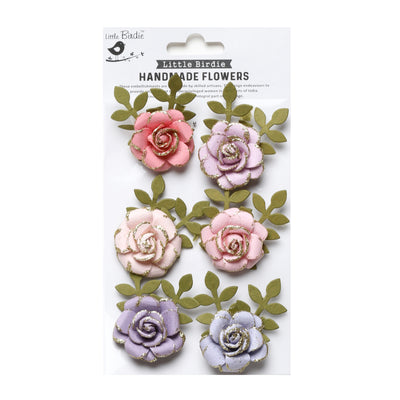 Handmade Flower Pixie Rose, Fairy Sparkle - 6pc