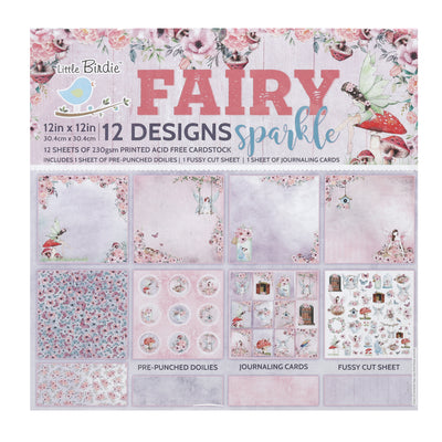 12 x12 inch Printed Cardstock pack- Fairy Sparkle, 12 Sheets, 12 Designs, 250 gsm