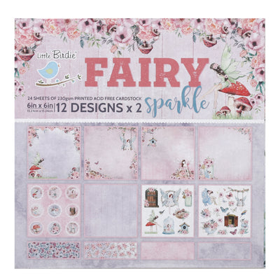6 x 6 inch Printed Cardstock pack- Fairy Sparkle, 24 Sheets, 12 Designs, 250 gsm