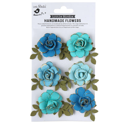 Handmade Flower Pixie Rose, Aqua Medley - 6 Pc