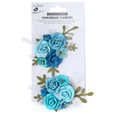 Handmade Flower Arion, Aqua Medley - 2pc