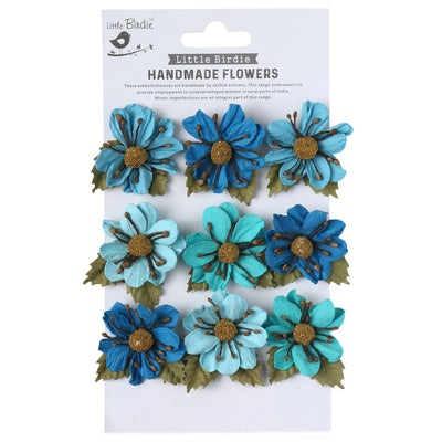 Handmade Flower Wendy, Aqua Medley - 9pc
