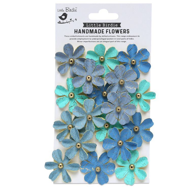 Handmade Flower Zoey Washed, Aqua Medley - 18pc
