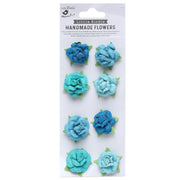 Handmade Flower Angel Rose, Aqua Medley - 8pc