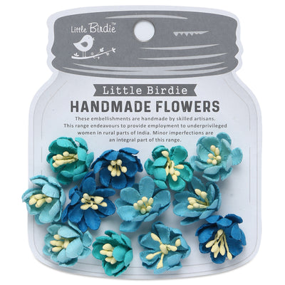 Handmade Flower Elvina, Aqua Medley - 12pc