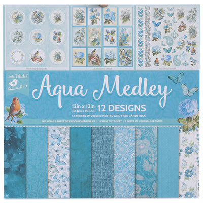 12 x12 inch Printed Cardstock pack- Aqua Medley, 12 Sheets, 12 Designs, 250 gsm