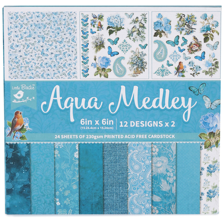 6 x 6 inch Printed Cardstock pack- Aqua Medley, 24 Sheets, 12 Designs, 250 gsm