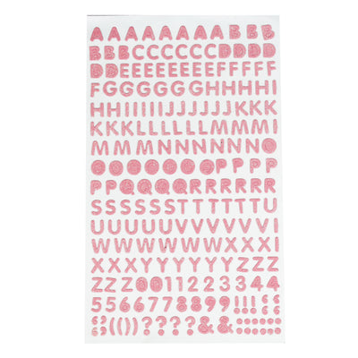 Glitter Alphabet & Numbers - Light Pink, 210pc