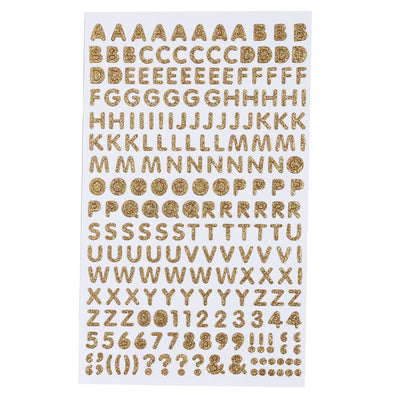 Glitter Alphabet & Numbers - Gold, 210pc