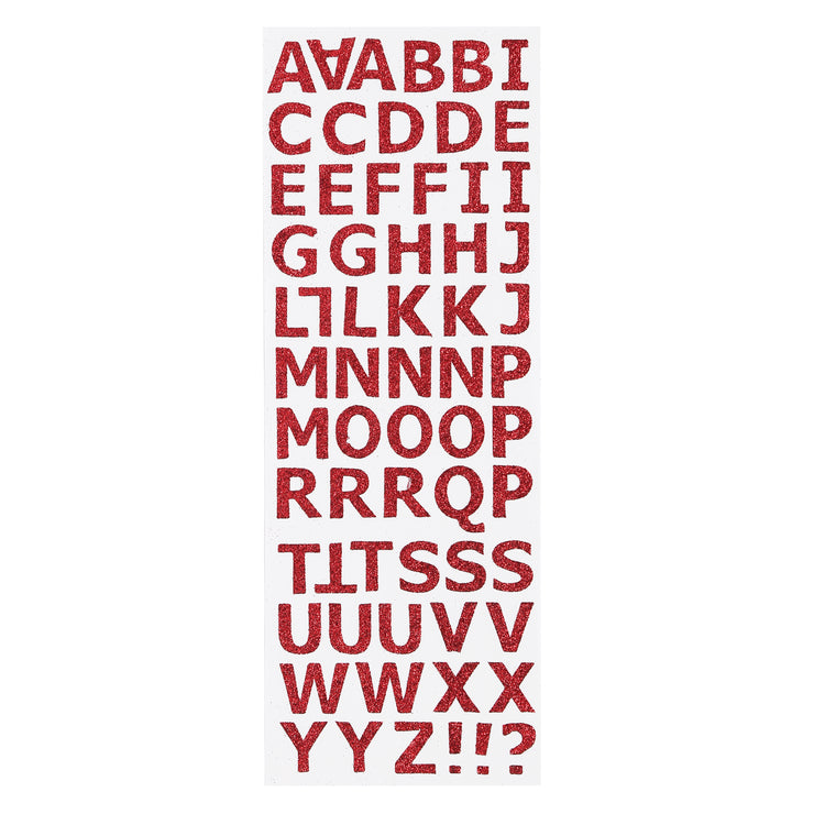 Glitter Alphabet & Numbers - Red, 2 sheets
