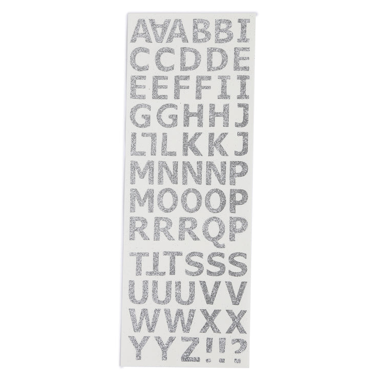 Glitter Alphabet & Numbers - Silver, 2 sheets