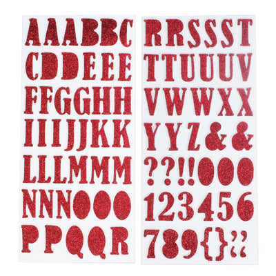 Chunky Alphabet & Numbers - Red, 2 sheets