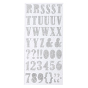 Chunky Alphabet & Numbers - Silver, 2 Sheets